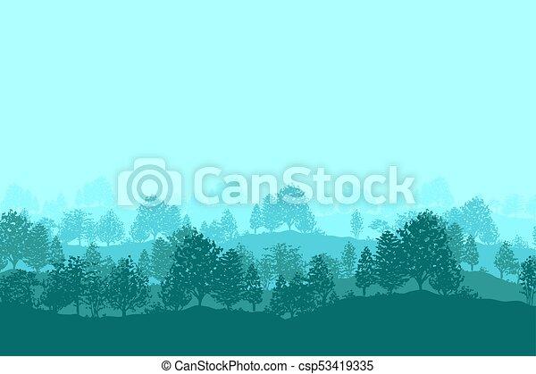 silhouette, albero, foresta, fondo - csp53419335