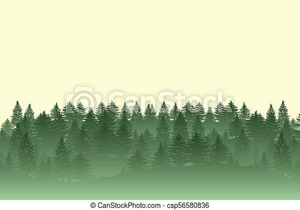 silhouette, albero, foresta, fondo - csp56580836