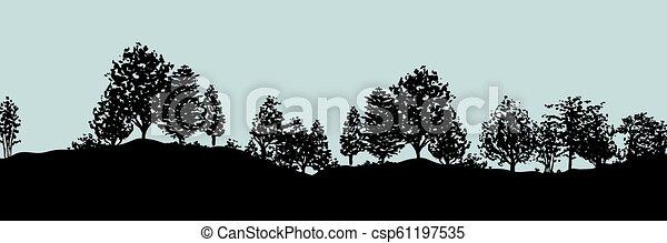 silhouette, albero, foresta, fondo - csp61197535