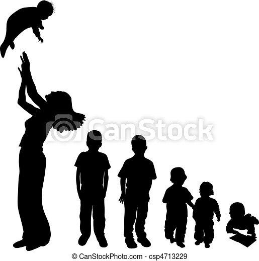 silhouette, bambini - csp4713229