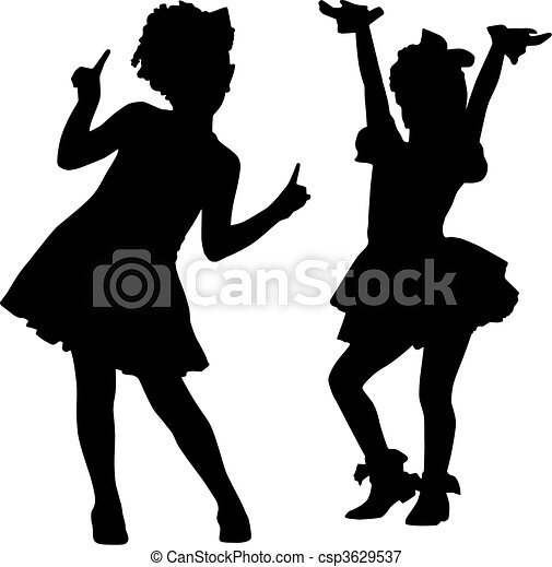 silhouette, bambini, felice - csp3629537