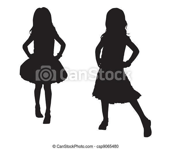 silhouette, bambini, felice - csp9065480