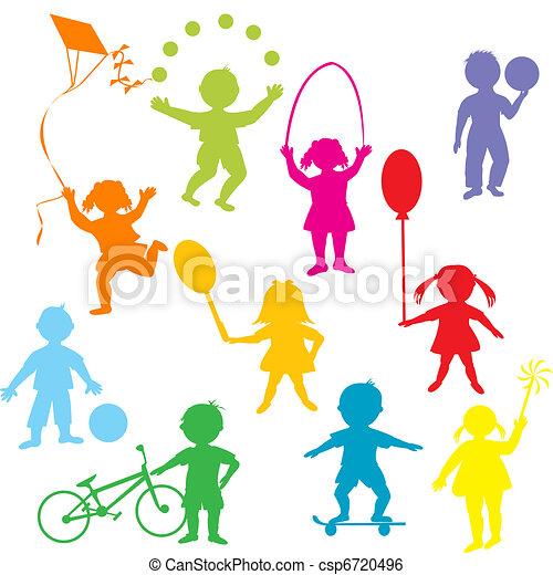 silhouette, bambini giocando, colorato - csp6720496