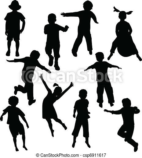 silhouette, bambini - csp6911617