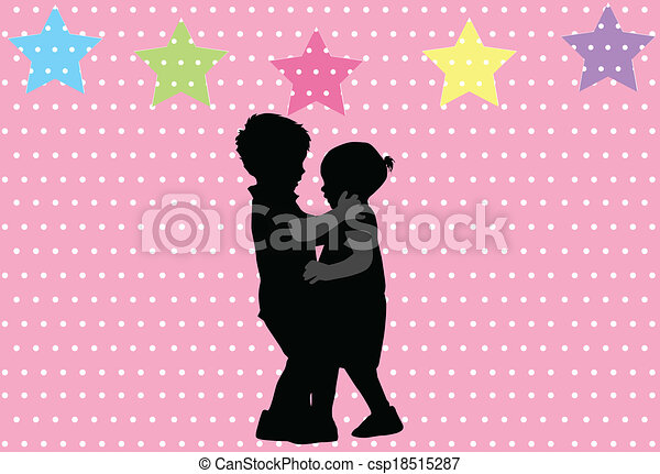 silhouette, bambini - csp18515287