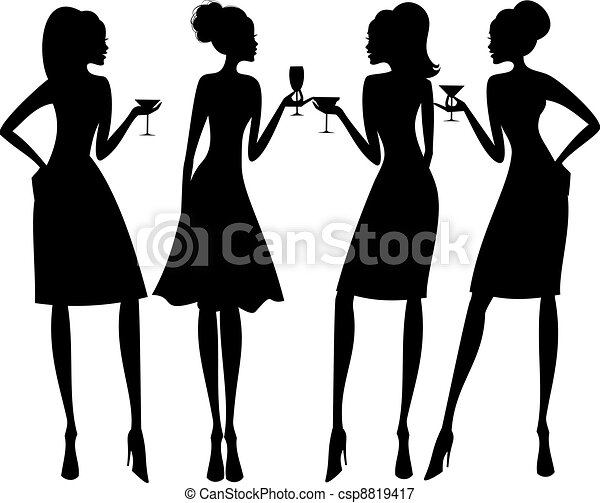 silhouette, festa, cocktail - csp8819417