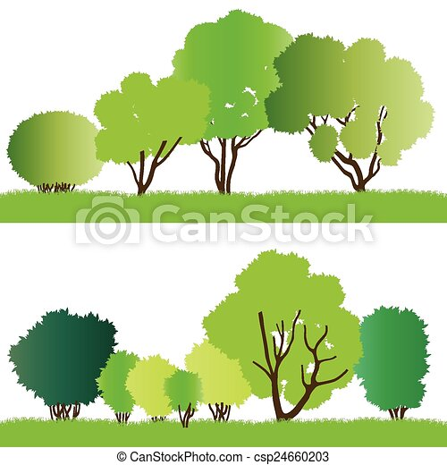 silhouette, foresta, albero - csp24660203