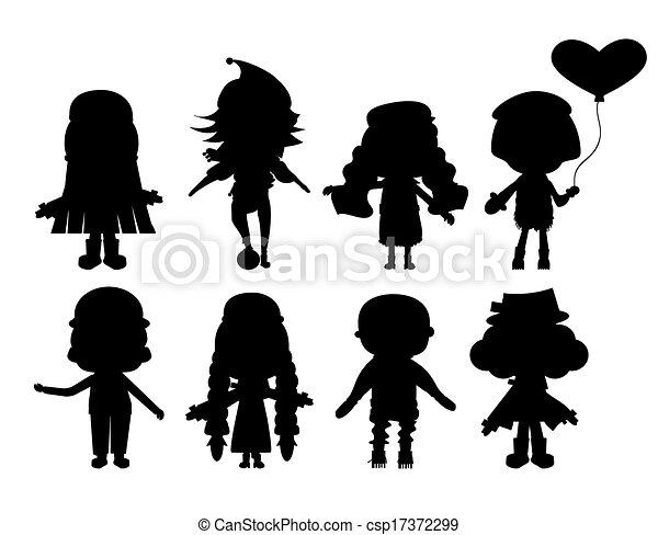 silhouette, illustrazione, collezione, bambino - csp17372299