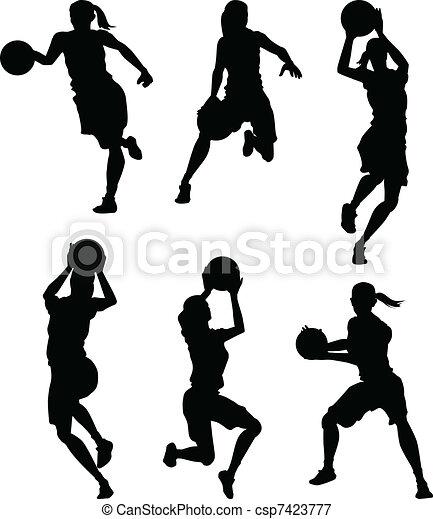 silhouette, pallacanestro, femmina, donne - csp7423777