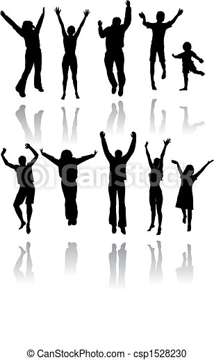 silhouette, saltare, dieci persone - csp1528230