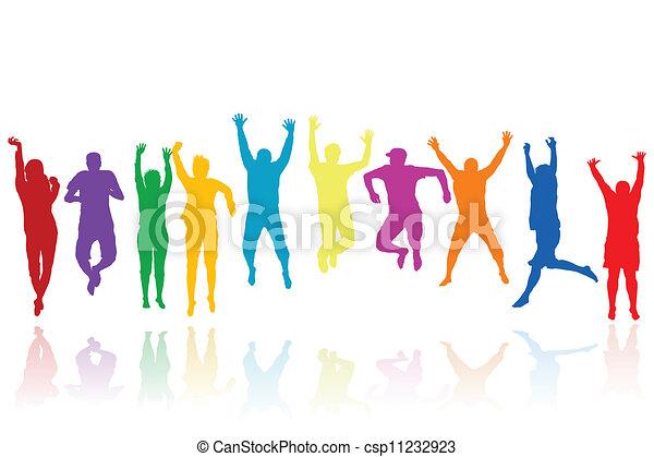 silhouette, saltare, gruppo, giovani persone - csp11232923