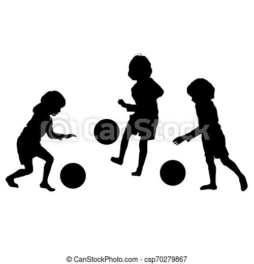 silhouette, vettore, calcio, bambini - csp70279867