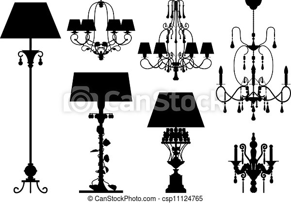 silhouette, vettore, illuminazione, collezione - csp11124765