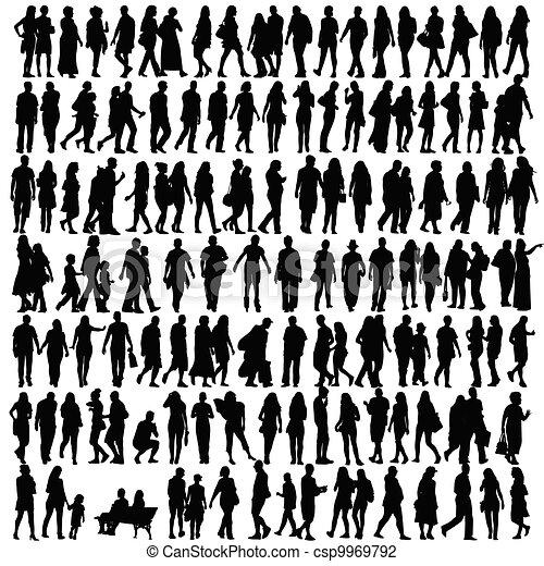 silhouette, vettore, nero, persone - csp9969792