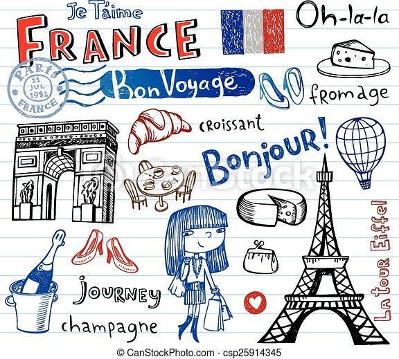 simboli, doodles, impaurito, francia - csp25914345