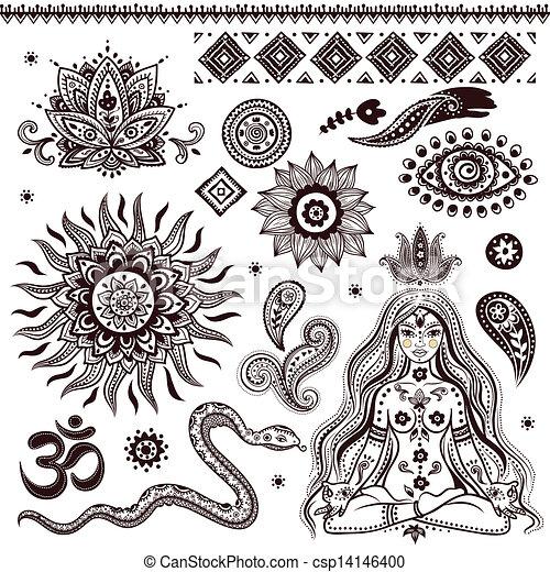 simboli, ornamentale, set, indiano, elementi - csp14146400