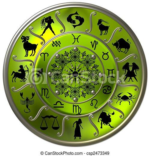 simboli, zodiaco, disco, verde, segni - csp2473349