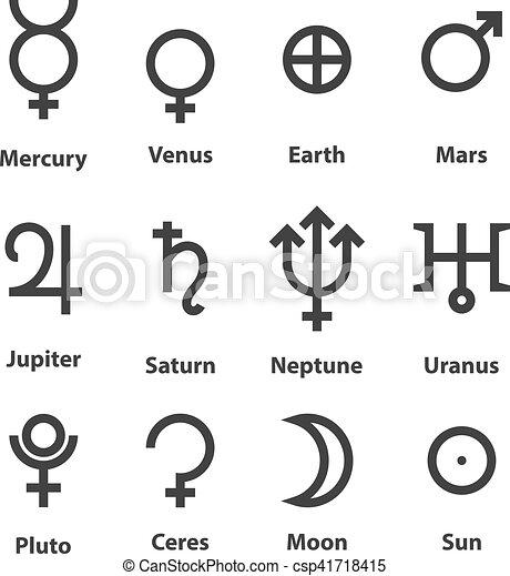 simboli, zodiaco, pianeti, astrologia - csp41718415