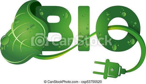 simbolo, bio, foglia verde - csp53755520