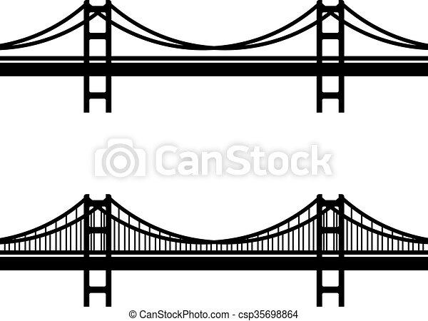 simbolo, cavo sospensione, nero, metallo, ponte - csp35698864