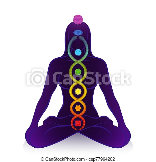 simbolo, kundalini, chakras, risveglio, serpente, donna, potere - csp77964202