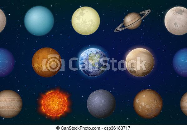 sistema, pianeti, solare, seamless - csp36183717