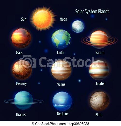 sistema, pictograms, pianeti, set, solare - csp30696938