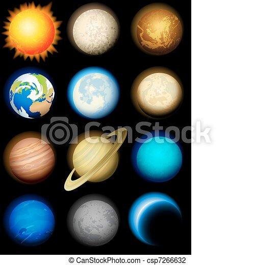 sistema, solare, icone - csp7266632