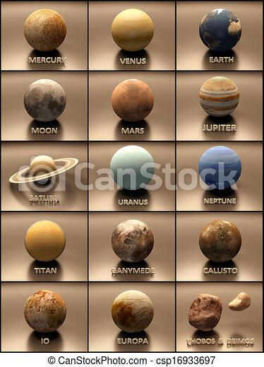 sistema solare, pianeti, lune - csp16933697