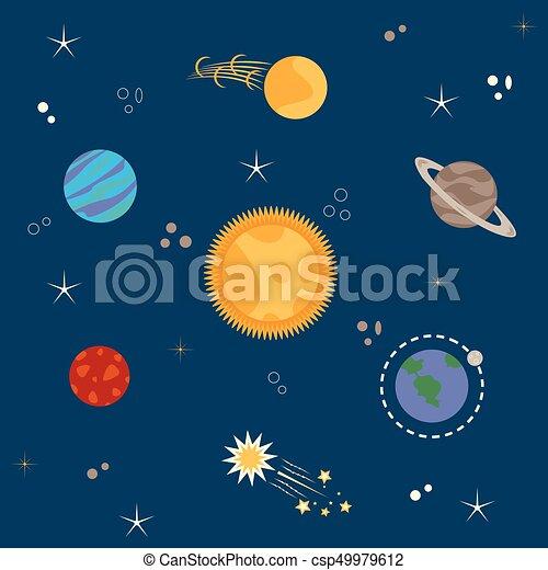 sistema, solare, pianeti - csp49979612