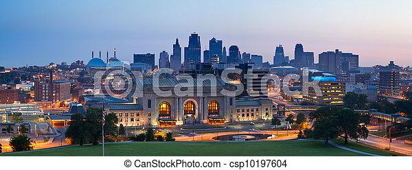 skyline città, kansas, panorama. - csp10197604