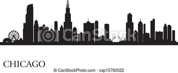 skyline città, silhouette, fondo, chicago - csp15760022