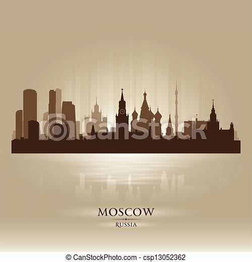 skyline città, silhouette, mosca, russia - csp13052362