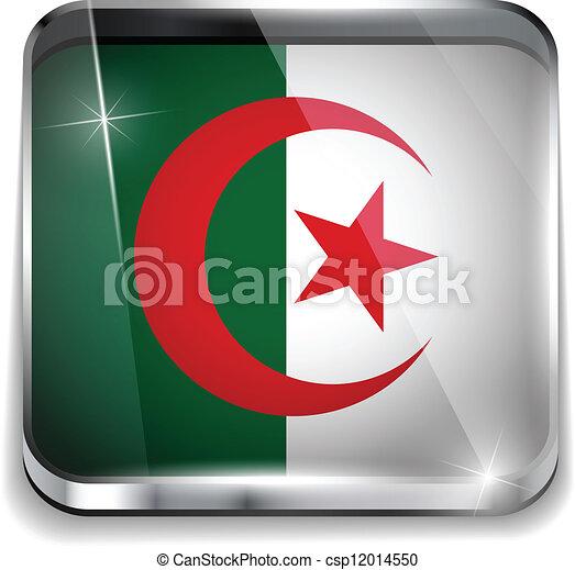 smartphone, algeria, bottoni, domanda, bandiera, quadrato - csp12014550