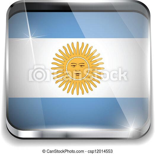 smartphone, bottoni, domanda, bandiera, quadrato, argentina - csp12014553