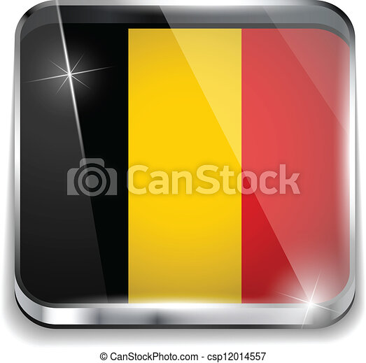 smartphone, bottoni, domanda, bandiera, quadrato, belgio - csp12014557