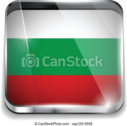 smartphone, bottoni, domanda, bandiera, quadrato, bulgaria - csp12014559