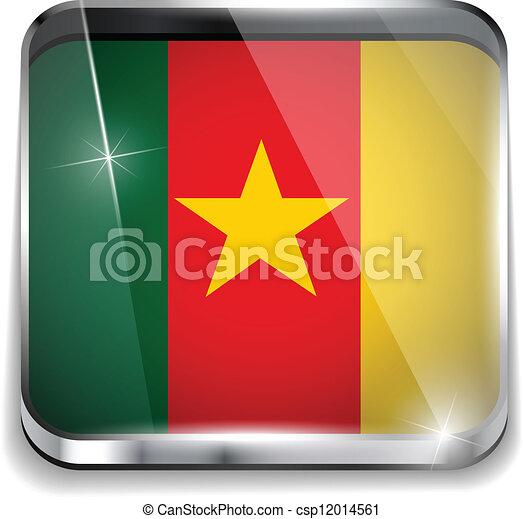 smartphone, bottoni, domanda, bandiera, quadrato, camerun - csp12014561