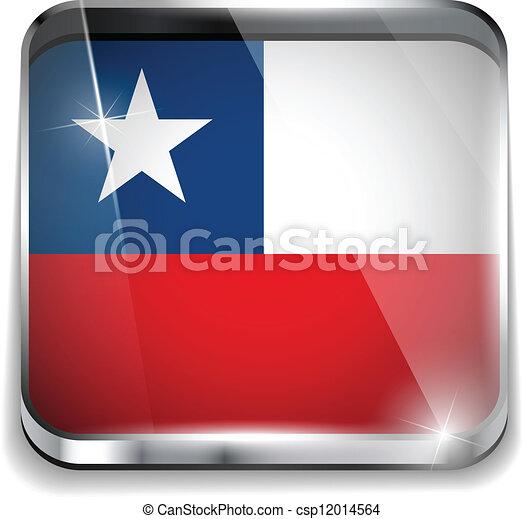 smartphone, bottoni, domanda, bandiera, quadrato, cile - csp12014564