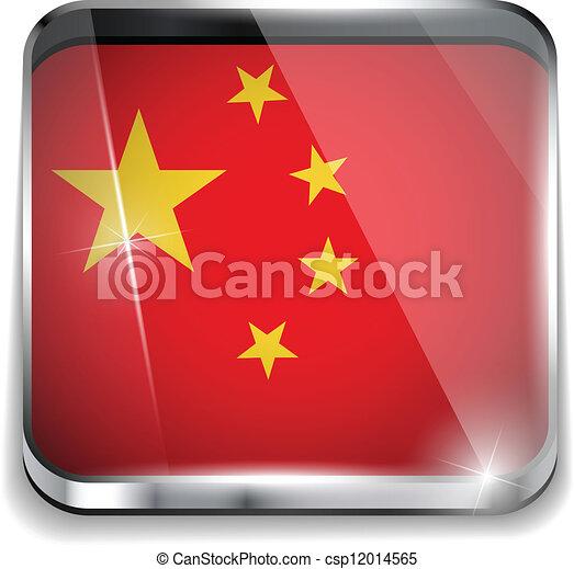 smartphone, bottoni, domanda, bandiera, quadrato, porcellana - csp12014565