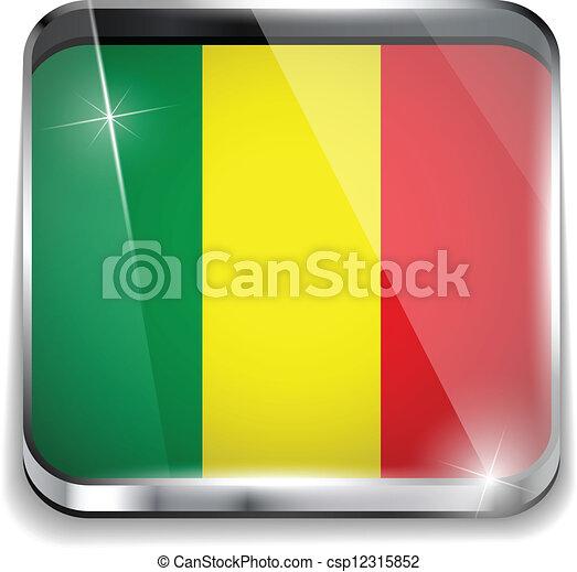 smartphone, bottoni, domanda, bandiera, quadrato, mali - csp12315852