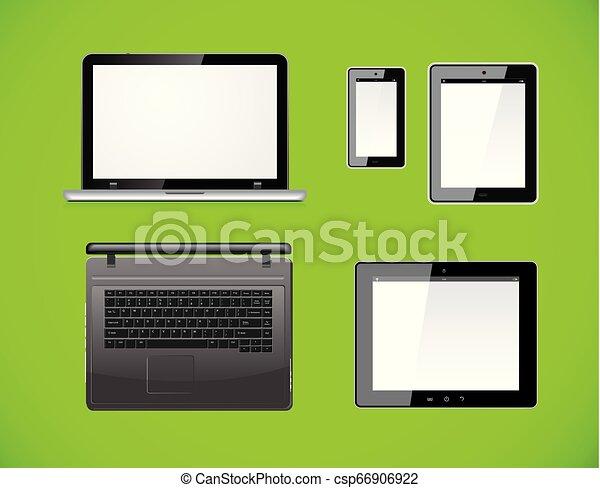 smartphone, computer, tavoletta, fondo., mobile, isolato, screen., pc, vettore, verde, vuoto, laptop - csp66906922