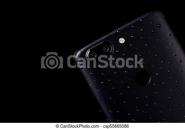 smartphone, doppio, acqua, macchina fotografica, sfondo nero, impronta digitale, gocce, sensore - csp55665086