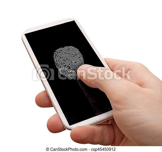 smartphone, impronta digitale - csp45450912
