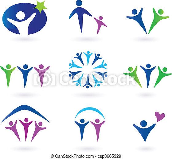 sociale, comunità, rete, icone - csp3665329