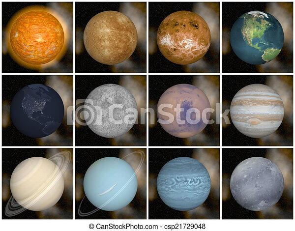 solare, render, -, sistema, pianeti, 3d - csp21729048