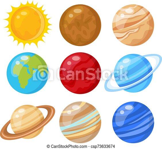 solare, vettore, pianeti, illustrazione, sistema - csp73633674
