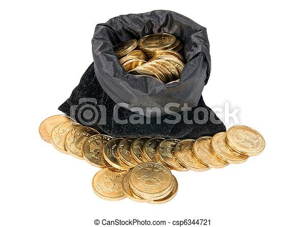 soldi, bianco, monete, isolato, borsa - csp6344721
