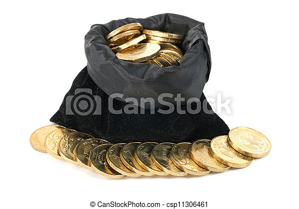 soldi, sopra, monete, borsa, fondo, bianco - csp11306461