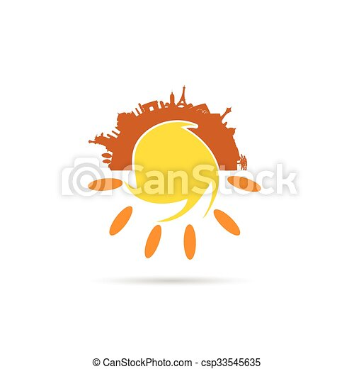 sole, famoso, illustrazione, monumento - csp33545635